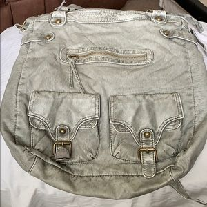 Mossimo Supply Co. Faux Leather Satchel Purse Grey